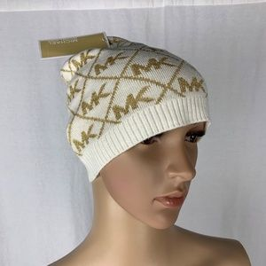 Michael Kors Beanie White Metallic Gold NEW